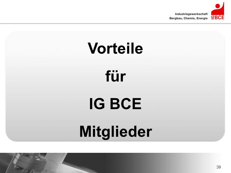 39 Vorteile für IG BCE Mitglieder
