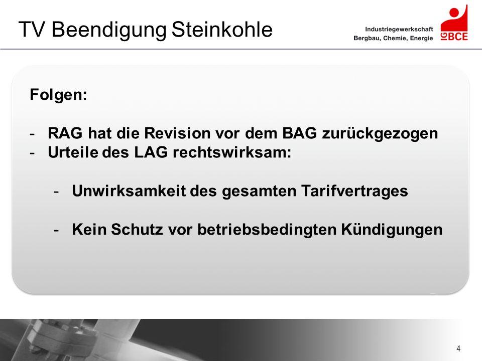 4 TV Beendigung Steinkohle Folgen: -RAG hat die Revision vor dem BAG zurückgezogen -Urteile des LAG rechtswirksam: -Unwirksamkeit des gesamten Tarifve
