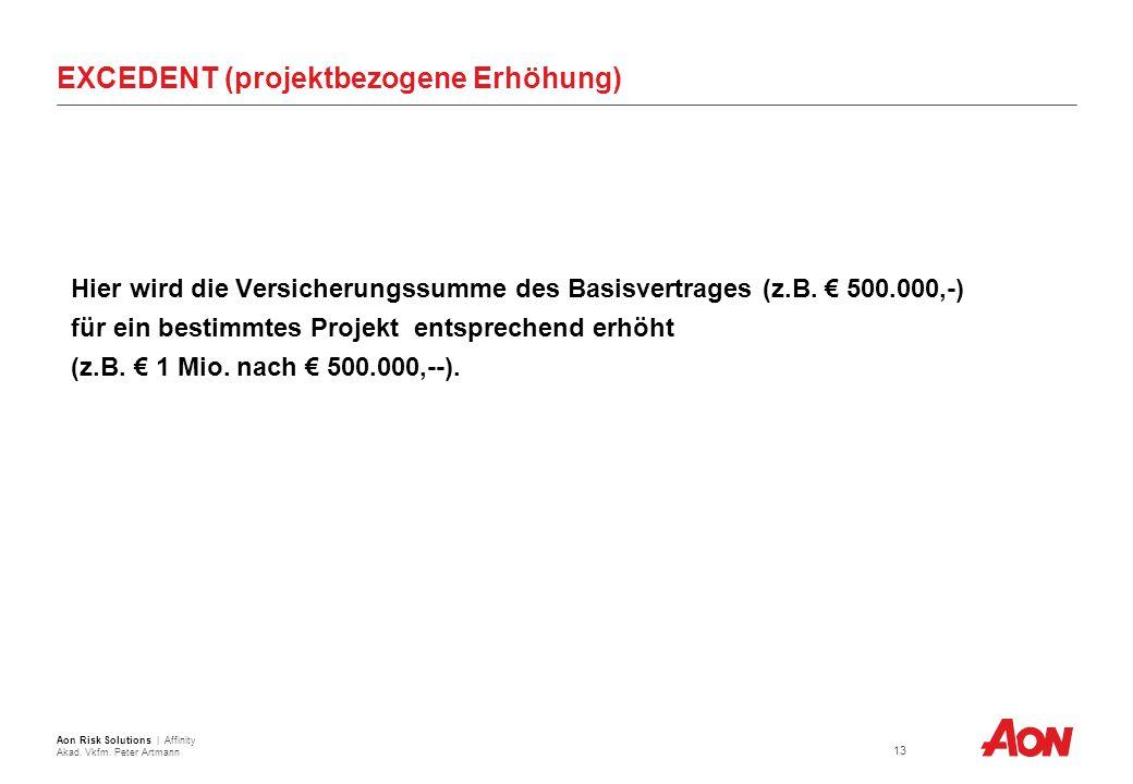 EXCEDENT (projektbezogene Erhöhung) Hier wird die Versicherungssumme des Basisvertrages (z.B.