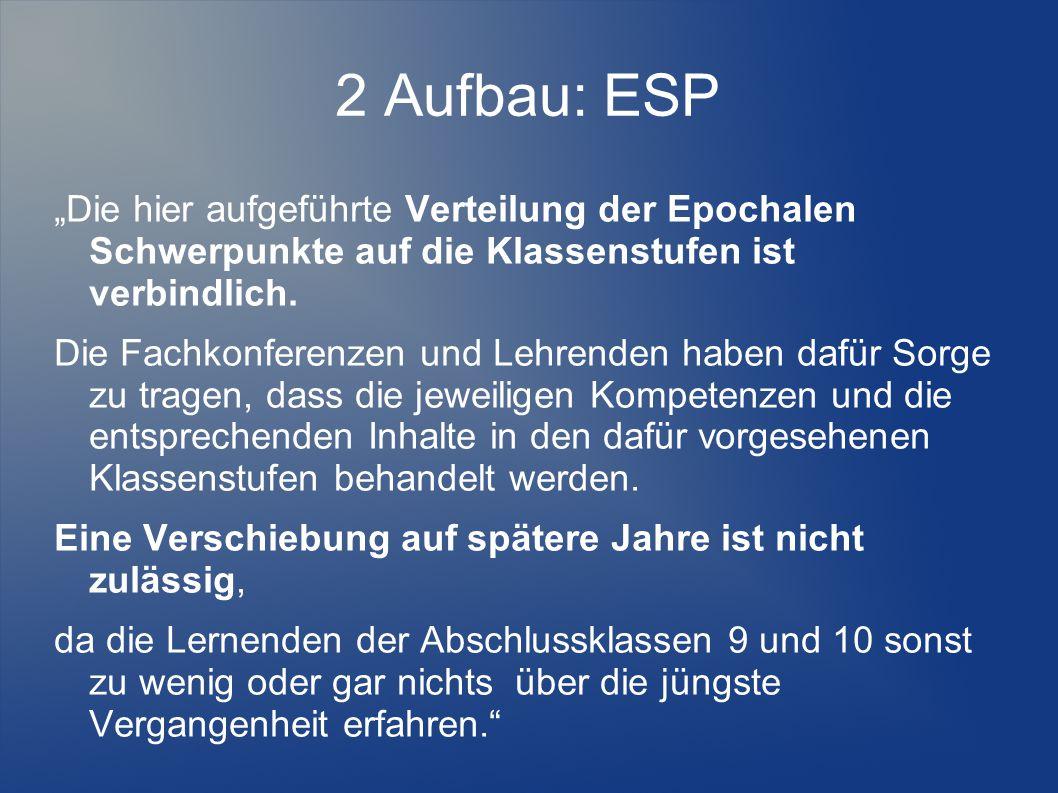 """2 Aufbau: ESP """"Die hier aufgeführte Verteilung der Epochalen Schwerpunkte auf die Klassenstufen ist verbindlich."""