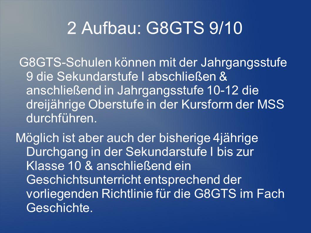 2 Aufbau: G8GTS 9/10 G8GTS-Schulen können mit der Jahrgangsstufe 9 die Sekundarstufe I abschließen & anschließend in Jahrgangsstufe 10-12 die dreijährige Oberstufe in der Kursform der MSS durchführen.