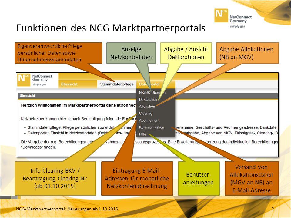 Funktionen des NCG Marktpartnerportals 2 Anzeige Netzkontodaten Eigenverantwortliche Pflege persönlicher Daten sowie Unternehmensstammdaten Abgabe / Ansicht Deklarationen Abgabe Allokationen (NB an MGV) Info Clearing BKV / Beantragung Clearing-Nr.