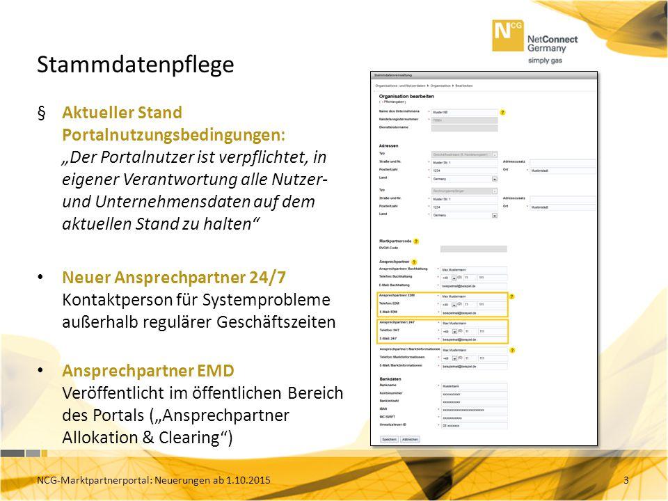 """Stammdatenpflege 3 §Aktueller Stand Portalnutzungsbedingungen: """"Der Portalnutzer ist verpflichtet, in eigener Verantwortung alle Nutzer- und Unternehm"""