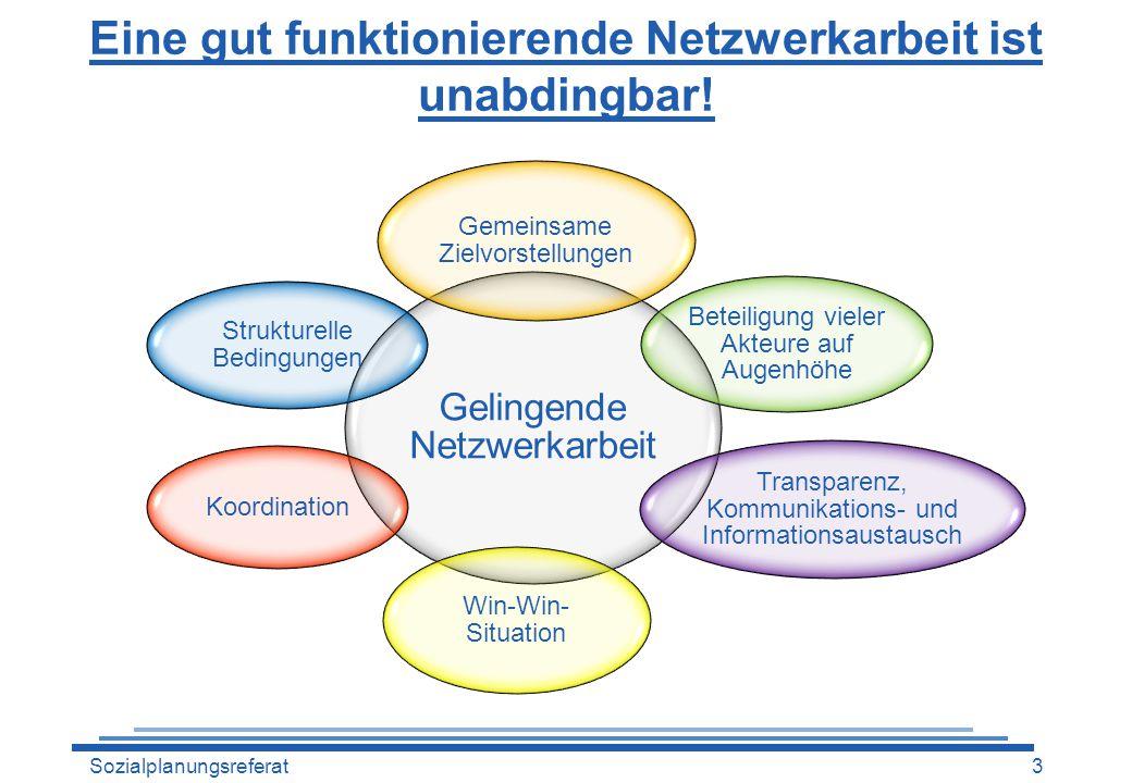 Eine gut funktionierende Netzwerkarbeit ist unabdingbar! Gelingende Netzwerkarbeit Gemeinsame Zielvorstellungen Beteiligung vieler Akteure auf Augenhö
