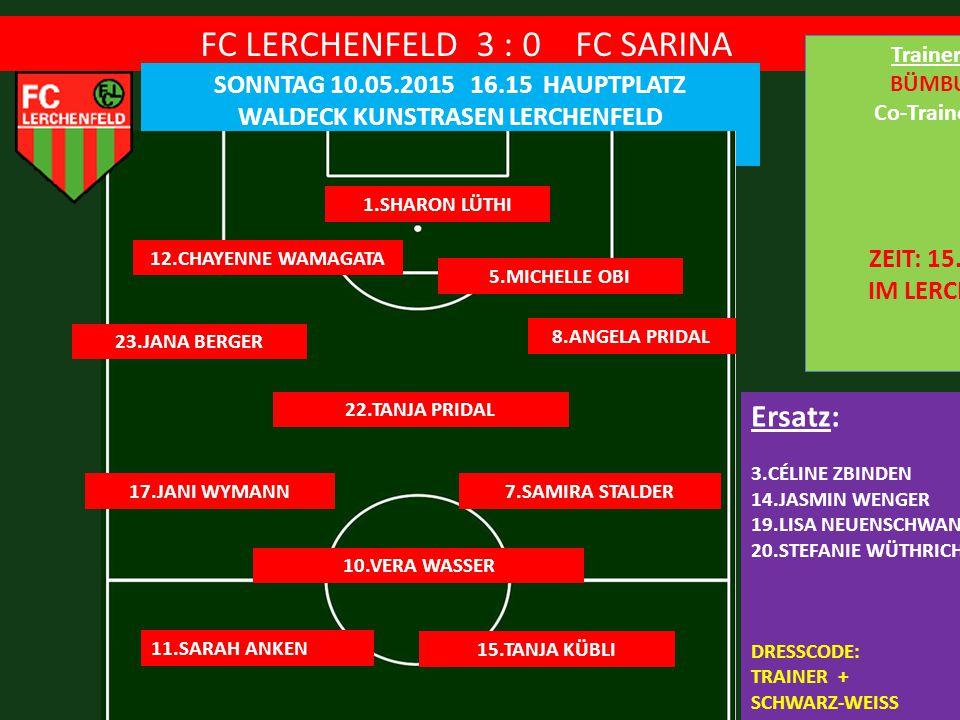 FC LERCHENFELD 3 : 0 FC SARINA SONNTAG 10.05.2015 16.15 HAUPTPLATZ WALDECK KUNSTRASEN LERCHENFELD 1.SHARON LÜTHI 5.MICHELLE OBI Ersatz: 3.CÉLINE ZBINDEN 14.JASMIN WENGER 19.LISA NEUENSCHWANDER 20.STEFANIE WÜTHRICH DRESSCODE: TRAINER + SCHWARZ-WEISS TORE: MICHI,SPEEDY,VERA 12.CHAYENNE WAMAGATA 8.ANGELA PRIDAL 23.JANA BERGER 22.TANJA PRIDAL 10.VERA WASSER 7.SAMIRA STALDER17.JANI WYMANN 11.SARAH ANKEN 15.TANJA KÜBLI Trainer: BÜMBU Co-Trainer: ZEIT: 15.00 IM LERCHU