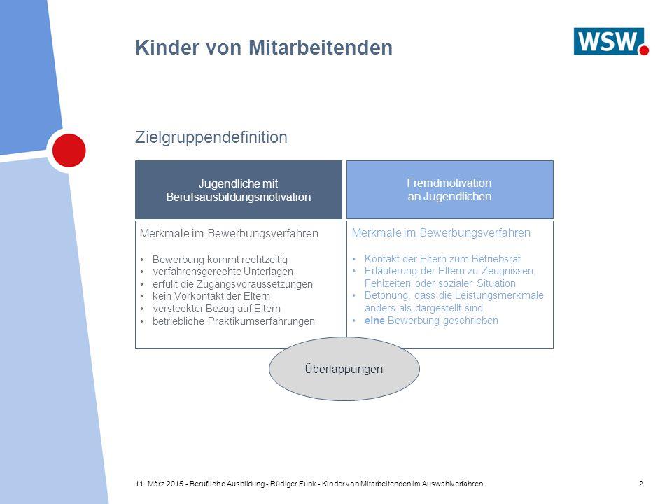 11. März 2015 - Berufliche Ausbildung - Rüdiger Funk - Kinder von Mitarbeitenden im Auswahlverfahren2 Kinder von Mitarbeitenden Zielgruppendefinition