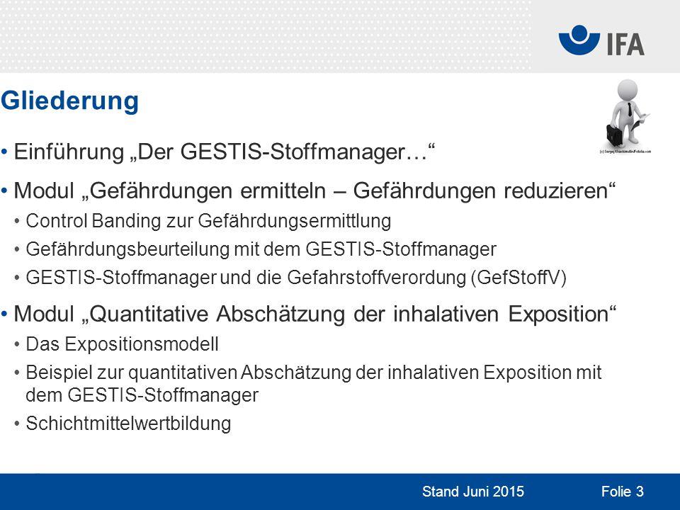 """Gliederung Einführung """"Der GESTIS-Stoffmanager…"""" Modul """"Gefährdungen ermitteln – Gefährdungen reduzieren"""" Control Banding zur Gefährdungsermittlung Ge"""