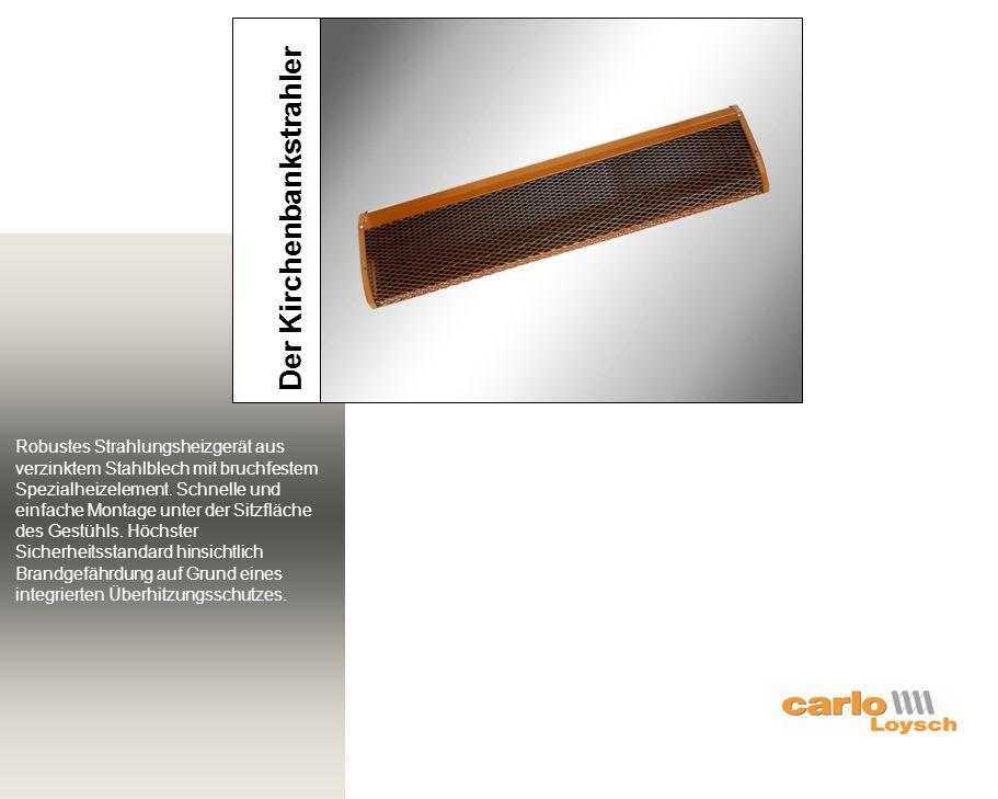 Robustes Strahlungsheizgerät aus verzinktem Stahlblech mit bruchfestem Spezialheizelement. Schnelle und einfache Montage unter der Sitzfläche des Gest