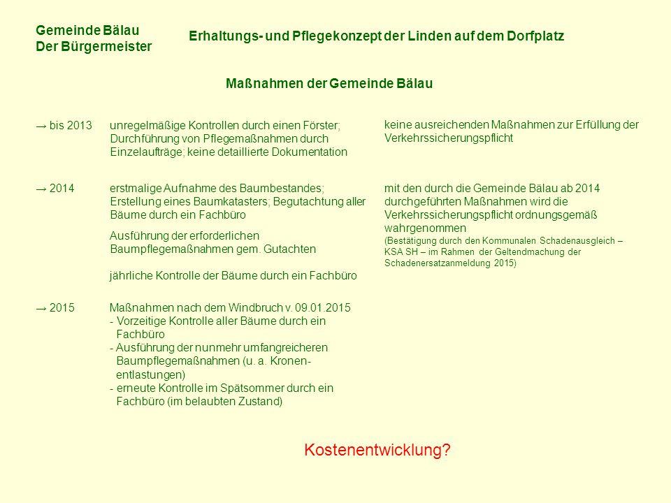 Gemeinde Bälau Der Bürgermeister Erhaltungs- und Pflegekonzept der Linden auf dem Dorfplatz Maßnahmen der Gemeinde Bälau → bis 2013unregelmäßige Kontr