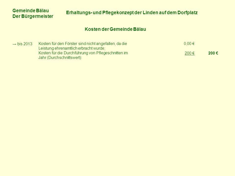 Gemeinde Bälau Der Bürgermeister Erhaltungs- und Pflegekonzept der Linden auf dem Dorfplatz Kosten der Gemeinde Bälau → bis 2013 0,00 €Kosten für den