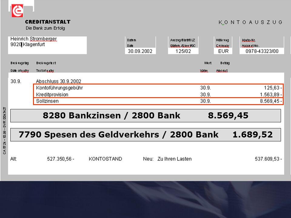 8280 Bankzinsen / 2800 Bank 8.569,45 7790 Spesen des Geldverkehrs / 2800 Bank 1.689,52