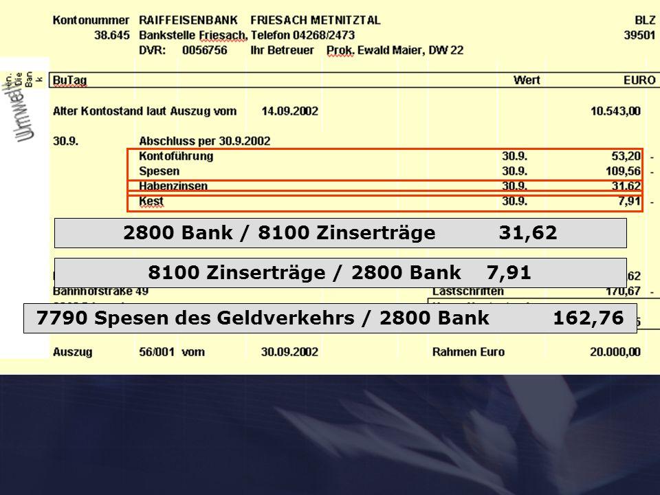 2800 Bank / 8100 Zinserträge 31,62 8100 Zinserträge / 2800 Bank 7,91 7790 Spesen des Geldverkehrs / 2800 Bank 162,76
