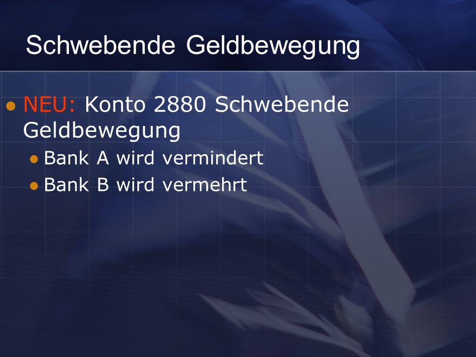 Schwebende Geldbewegung NEU: Konto 2880 Schwebende Geldbewegung Bank A wird vermindert Bank B wird vermehrt