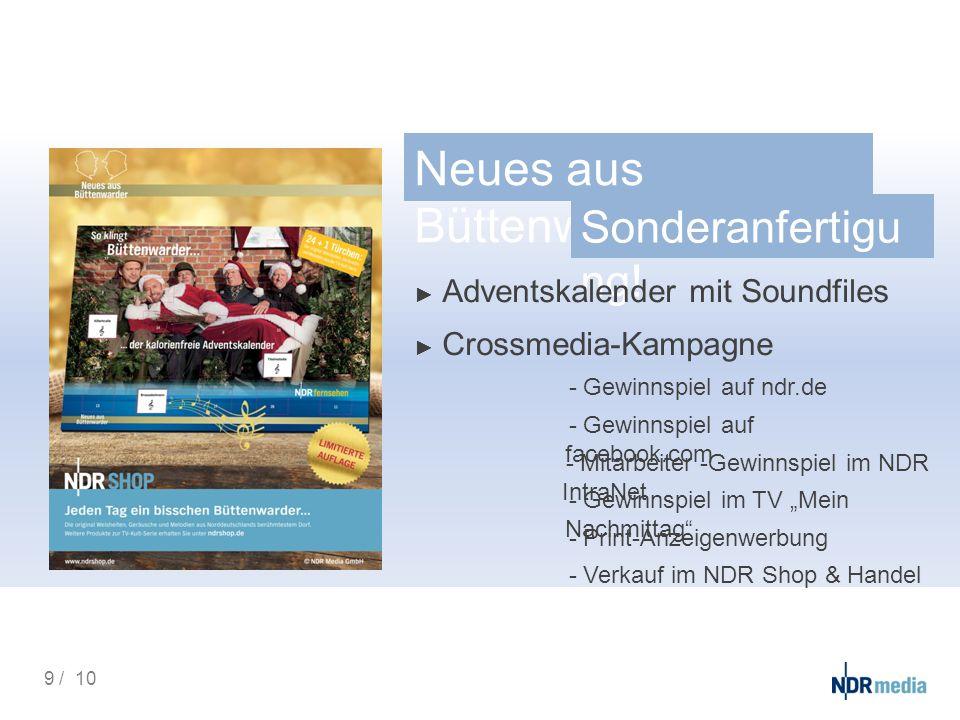 Neues aus Büttenwarder - Sonderanfertigu ng! ► Adventskalender mit Soundfiles ► Crossmedia-Kampagne - Gewinnspiel auf ndr.de - Gewinnspiel auf faceboo