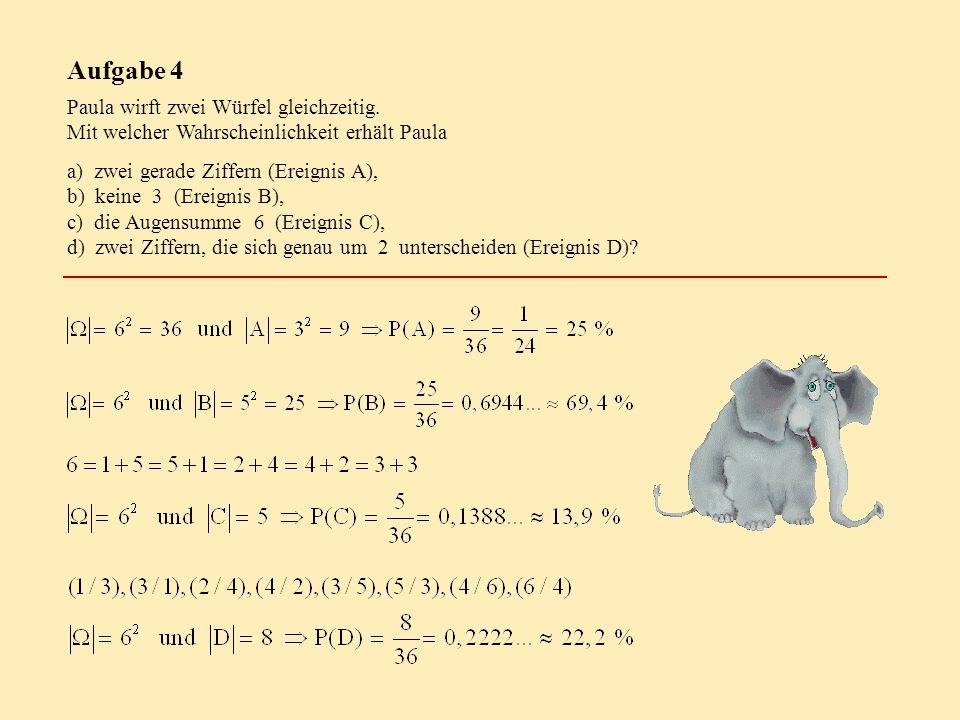 Aufgabe 4 Paula wirft zwei Würfel gleichzeitig. Mit welcher Wahrscheinlichkeit erhält Paula a) zwei gerade Ziffern (Ereignis A), b) keine 3 (Ereignis