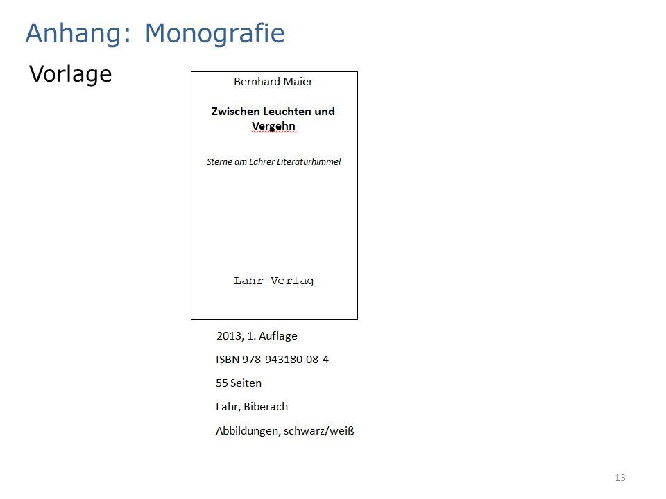 Anhang: Monografie 13 Vorlage