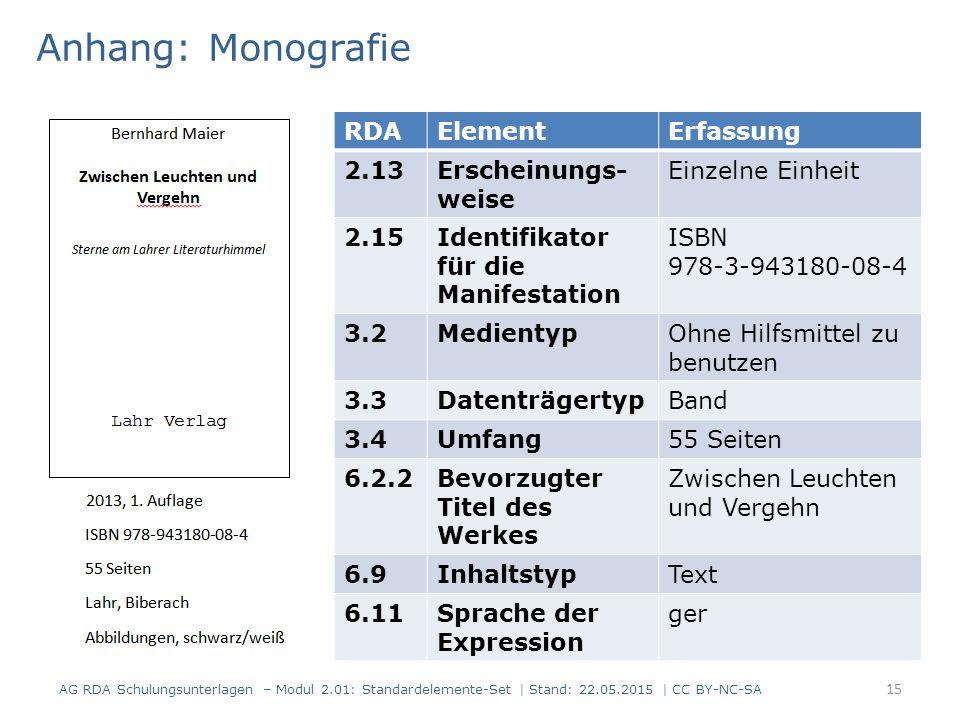 Anhang: Monografie 15 RDAElementErfassung 2.13Erscheinungs- weise Einzelne Einheit 2.15Identifikator für die Manifestation ISBN 978-3-943180-08-4 3.2MedientypOhne Hilfsmittel zu benutzen 3.3DatenträgertypBand 3.4Umfang55 Seiten 6.2.2Bevorzugter Titel des Werkes Zwischen Leuchten und Vergehn 6.9InhaltstypText 6.11Sprache der Expression ger AG RDA Schulungsunterlagen – Modul 2.01: Standardelemente-Set | Stand: 22.05.2015 | CC BY-NC-SA