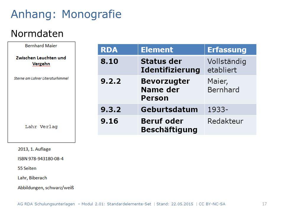 Anhang: Monografie Normdaten 17 RDAElementErfassung 8.10Status der Identifizierung Vollständig etabliert 9.2.2Bevorzugter Name der Person Maier, Bernhard 9.3.2Geburtsdatum1933- 9.16Beruf oder Beschäftigung Redakteur AG RDA Schulungsunterlagen – Modul 2.01: Standardelemente-Set | Stand: 22.05.2015 | CC BY-NC-SA