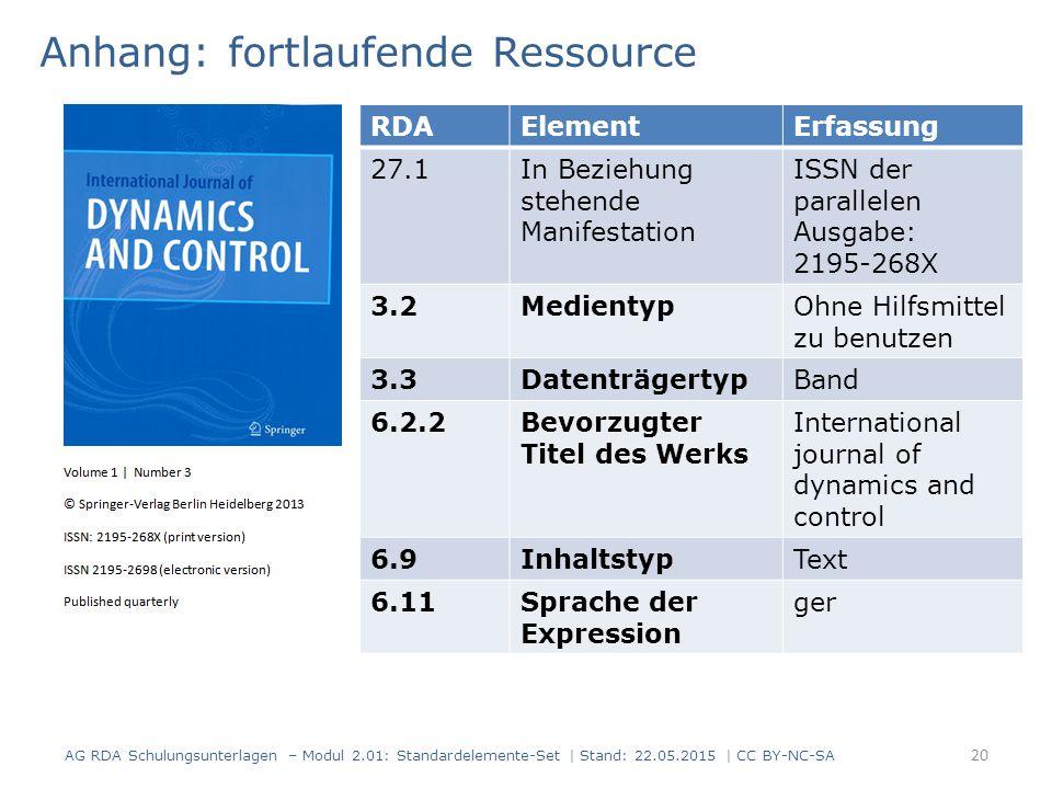 Anhang: fortlaufende Ressource RDAElementErfassung 27.1In Beziehung stehende Manifestation ISSN der parallelen Ausgabe: 2195-268X 3.2MedientypOhne Hilfsmittel zu benutzen 3.3DatenträgertypBand 6.2.2Bevorzugter Titel des Werks International journal of dynamics and control 6.9InhaltstypText 6.11Sprache der Expression ger AG RDA Schulungsunterlagen – Modul 2.01: Standardelemente-Set | Stand: 22.05.2015 | CC BY-NC-SA 20