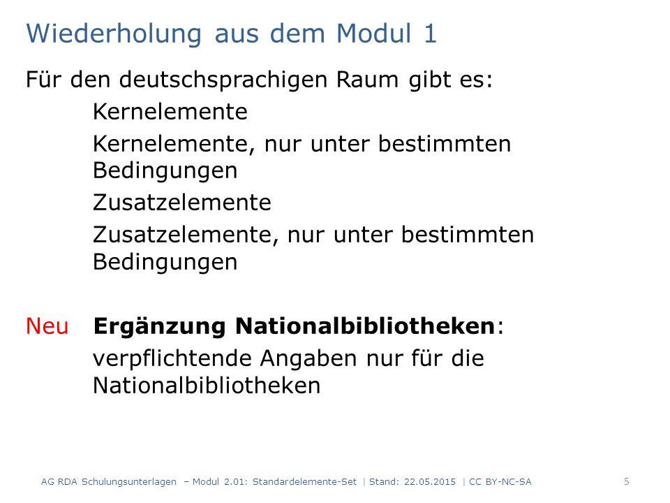 Wiederholung aus dem Modul 1 Für den deutschsprachigen Raum gibt es: Kernelemente Kernelemente, nur unter bestimmten Bedingungen Zusatzelemente Zusatz
