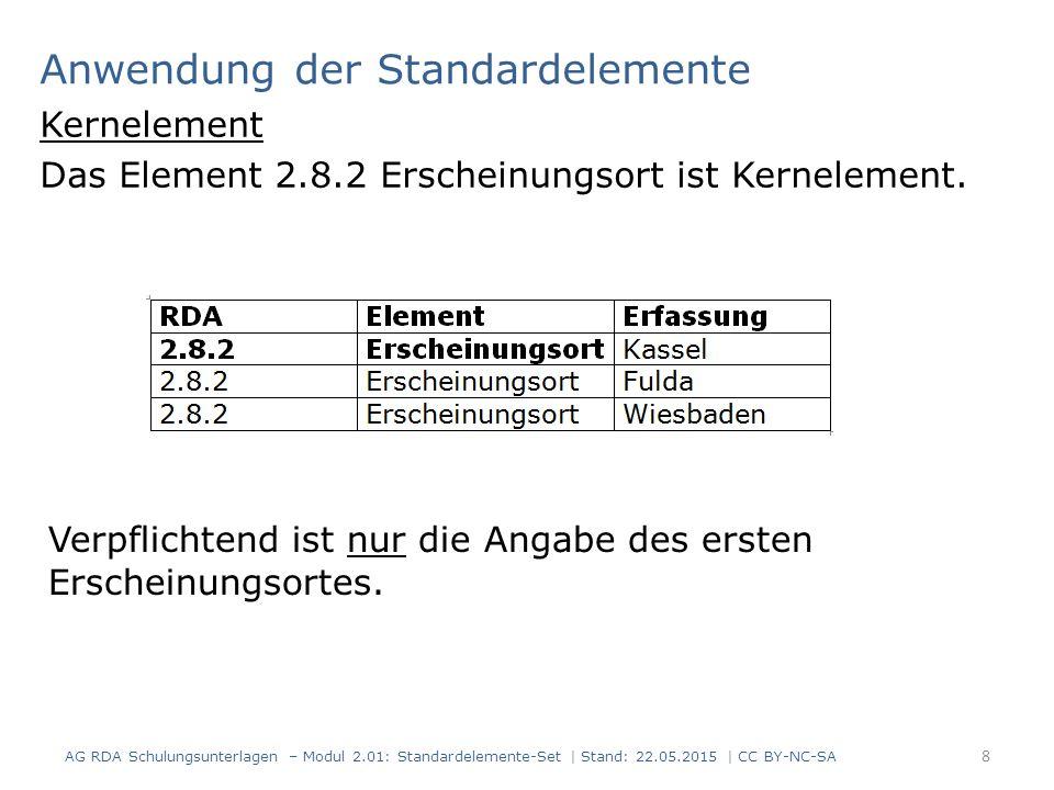 Anwendung der Standardelemente Kernelement Das Element 2.8.2 Erscheinungsort ist Kernelement. 8 AG RDA Schulungsunterlagen – Modul 2.01: Standardeleme