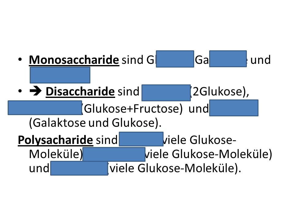 Monosaccharide sind Glukose, Galaktose und Fruktose.  Disaccharide sind Maltose (2Glukose), Saccharose (Glukose+Fructose) und Laktose (Galaktose und
