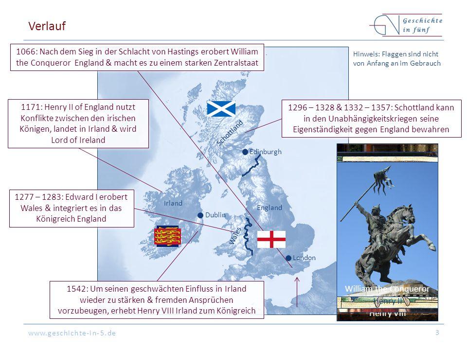 www.geschichte-in-5.de Verlauf 4 England Scotland Henry VII (1485-1509) MargaretHenry VIII (1509-1547) James V (1513-1542) Mary I (1553-1558) Elizabeth I (1558-1603) Mary (1542-1567) James VI & I ( 1567-1603 & 1603-1625) James IV (1588-1513) ∞ Edward (1547-1553) Englische Perspektive: Sicherung der Personalunion & des politischen Einflusses Schottische Persp.: Finanzielle Konsolidierung Englische Perspektive: Sicherung der Personalunion & des politischen Einflusses Schottische Persp.: Finanzielle Konsolidierung 1603: Nachdem Elizabeth I kinderlos stirbt, wird ihr (entfernter) Verwandter James VI King of Scots König von England (James I) & die Personalunion der beiden Königreiche beginnt 1707: England & Schottland werden zum Königreich von Großbritannien vereinigt London Edinburgh Dublin James VI & I Schottland Irland Wales England