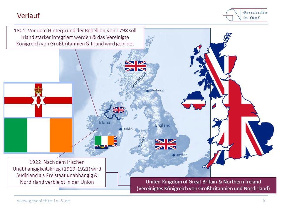 www.geschichte-in-5.de Verlauf 5 1801: Vor dem Hintergrund der Rebellion von 1798 soll Irland stärker integriert werden & das Vereinigte Königreich vo