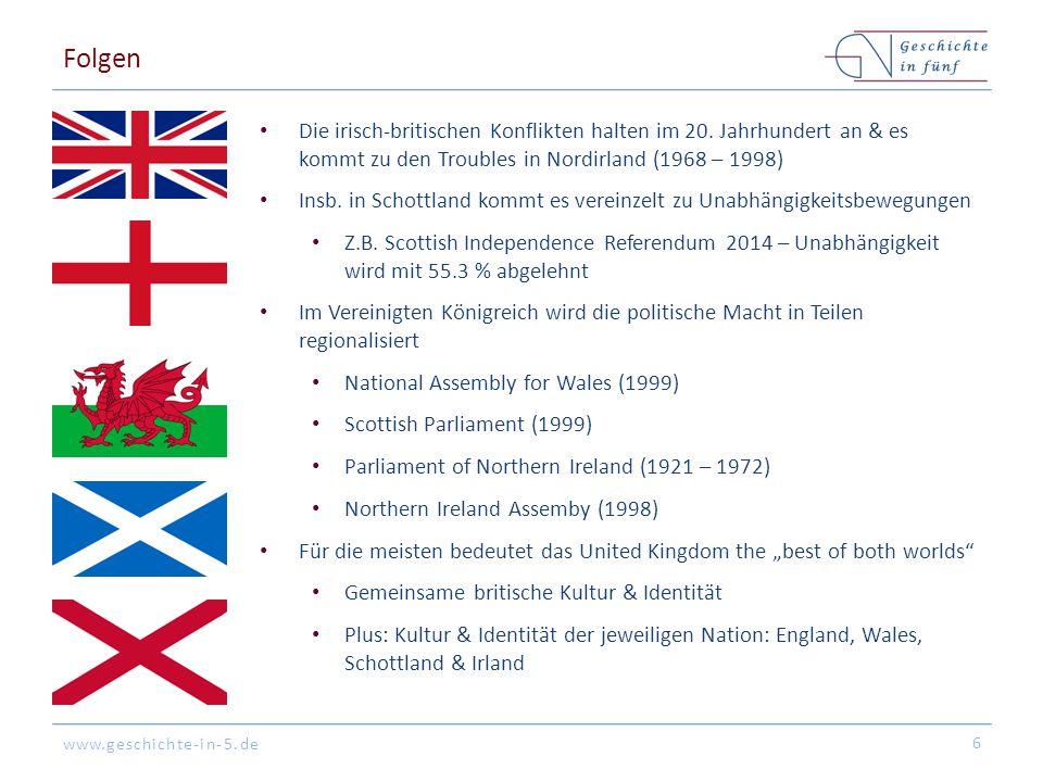 www.geschichte-in-5.de Folgen Die irisch-britischen Konflikten halten im 20. Jahrhundert an & es kommt zu den Troubles in Nordirland (1968 – 1998) Ins
