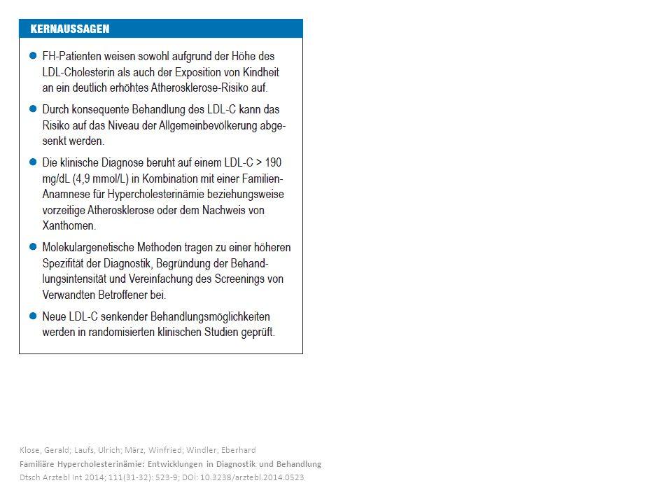 Klose, Gerald; Laufs, Ulrich; März, Winfried; Windler, Eberhard Familiäre Hypercholesterinämie: Entwicklungen in Diagnostik und Behandlung Dtsch Arzte