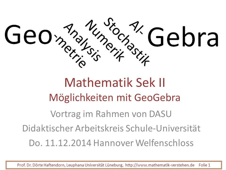Mathematik Sek II Möglichkeiten mit GeoGebra Vortrag im Rahmen von DASU Didaktischer Arbeitskreis Schule-Universität Do. 11.12.2014 Hannover Welfensch
