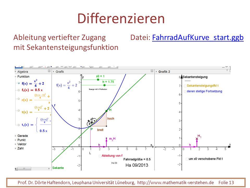 Prof. Dr. Dörte Haftendorn, Leuphana Universität Lüneburg, http://www.mathematik-verstehen.de Folie 13 Differenzieren Ableitung vertiefter Zugang mit