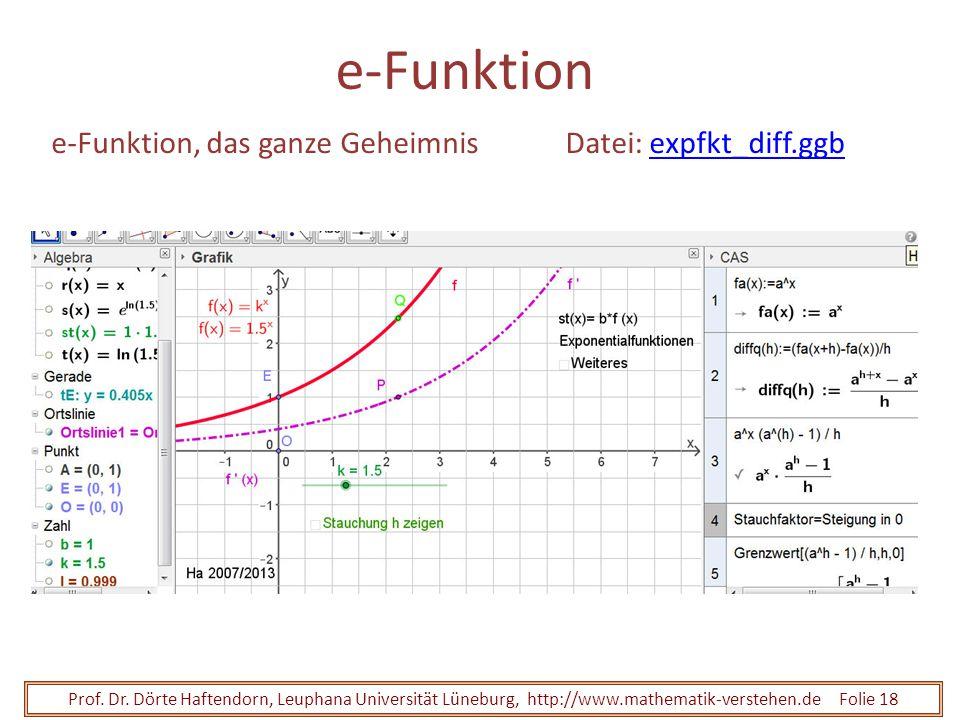 Prof. Dr. Dörte Haftendorn, Leuphana Universität Lüneburg, http://www.mathematik-verstehen.de Folie 18 e-Funktion e-Funktion, das ganze GeheimnisDatei