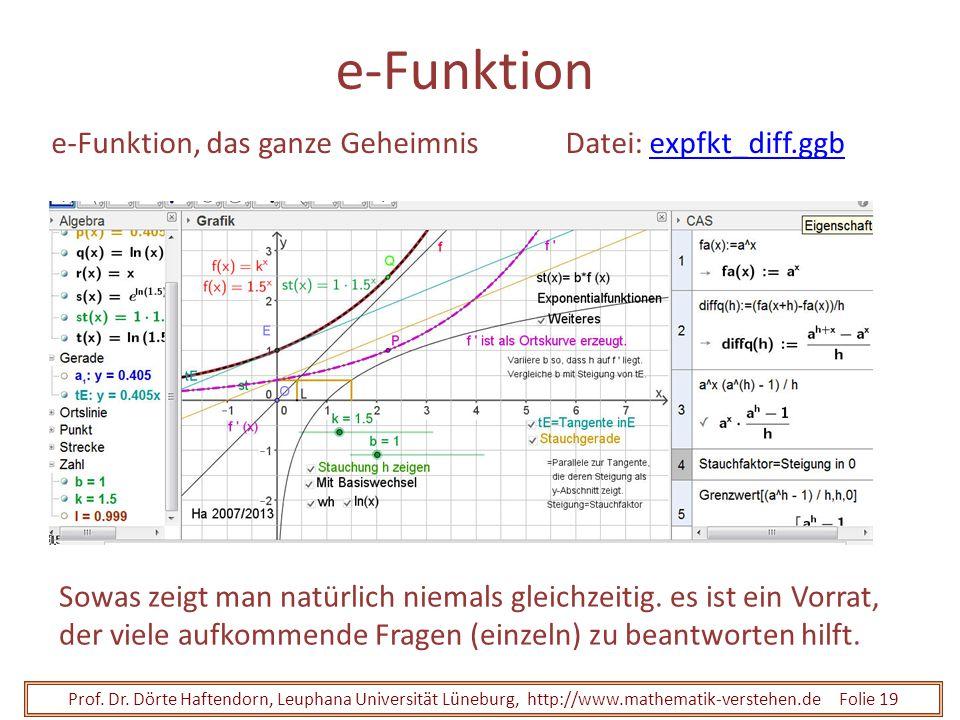 Prof. Dr. Dörte Haftendorn, Leuphana Universität Lüneburg, http://www.mathematik-verstehen.de Folie 19 e-Funktion e-Funktion, das ganze GeheimnisDatei