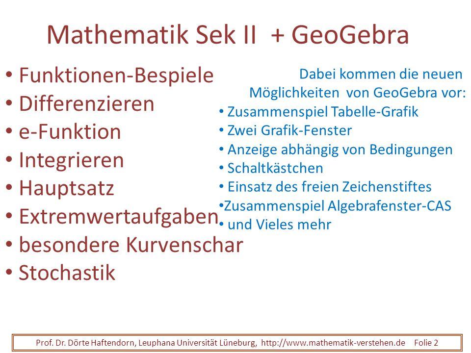 Prof. Dr. Dörte Haftendorn, Leuphana Universität Lüneburg, http://www.mathematik-verstehen.de Folie 2 Mathematik Sek II + GeoGebra Funktionen-Bespiele