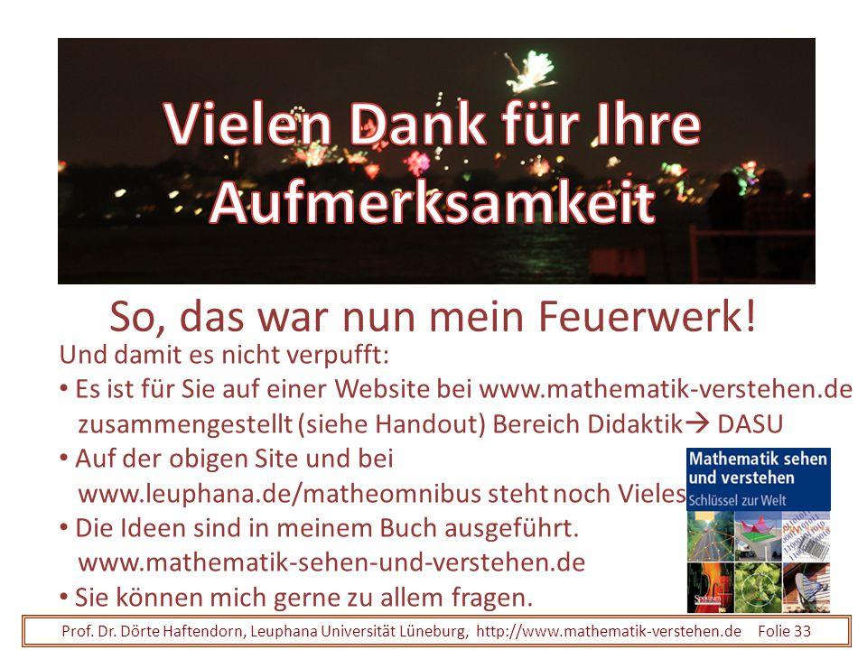 Prof. Dr. Dörte Haftendorn, Leuphana Universität Lüneburg, http://www.mathematik-verstehen.de Folie 33 So, das war nun mein Feuerwerk! Und damit es ni