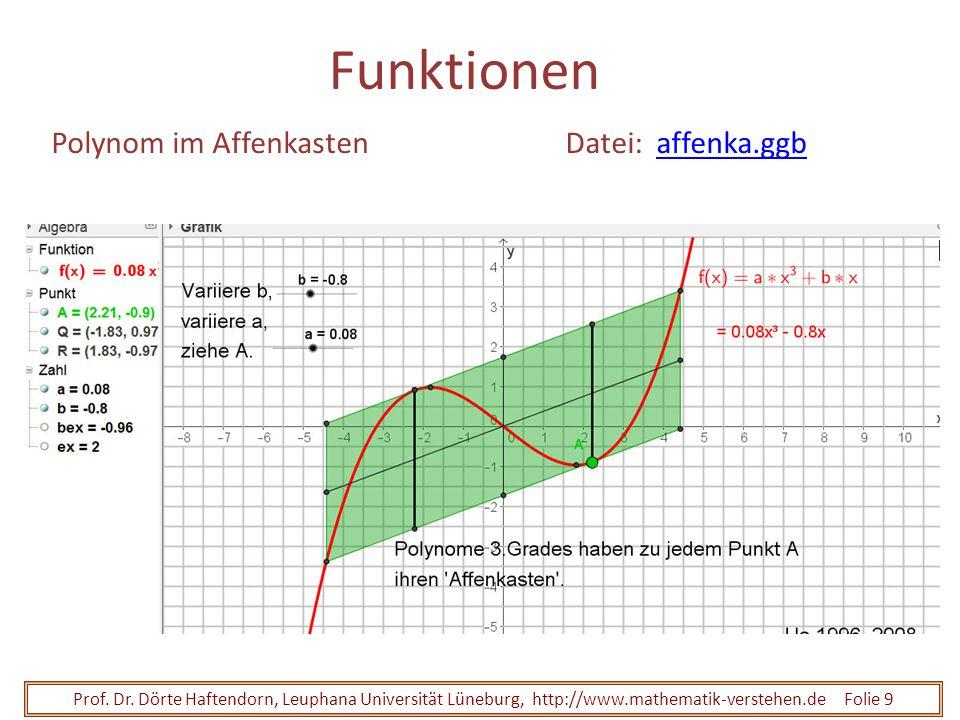 Prof. Dr. Dörte Haftendorn, Leuphana Universität Lüneburg, http://www.mathematik-verstehen.de Folie 9 Funktionen Polynom im AffenkastenDatei: affenka.