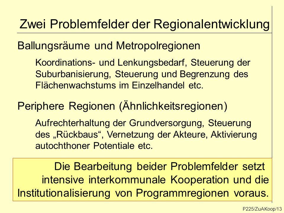 P225/ZuAKoop/13 Zwei Problemfelder der Regionalentwicklung Ballungsräume und Metropolregionen Periphere Regionen (Ähnlichkeitsregionen) Koordinations-