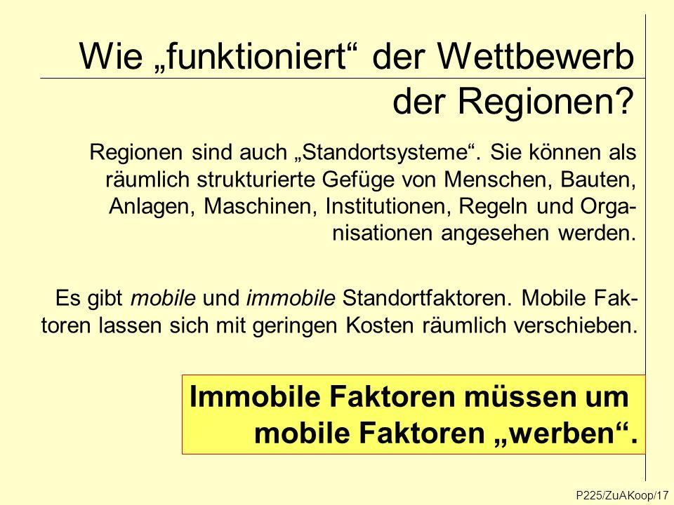 """Wie """"funktioniert"""" der Wettbewerb der Regionen? P225/ZuAKoop/17 Regionen sind auch """"Standortsysteme"""". Sie können als räumlich strukturierte Gefüge von"""