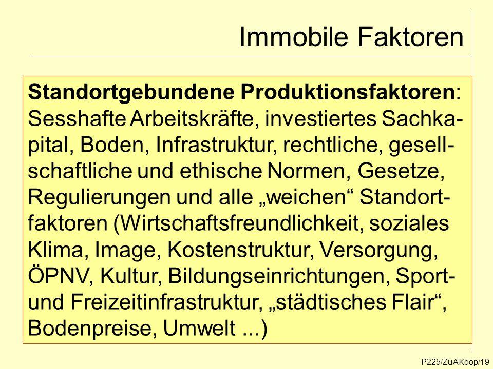 Immobile Faktoren P225/ZuAKoop/19 Standortgebundene Produktionsfaktoren: Sesshafte Arbeitskräfte, investiertes Sachka- pital, Boden, Infrastruktur, re