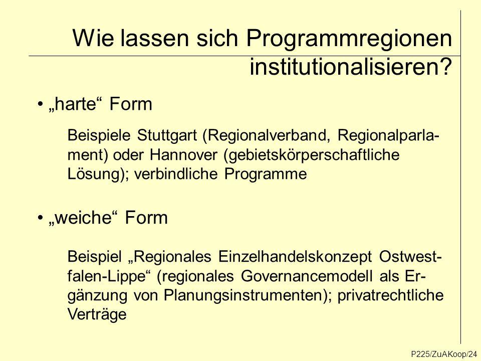 """P225/ZuAKoop/24 Wie lassen sich Programmregionen institutionalisieren? """"harte"""" Form """"weiche"""" Form Beispiele Stuttgart (Regionalverband, Regionalparla-"""