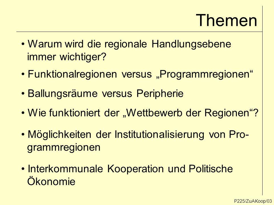 P225/ZuAKoop/13 Zwei Problemfelder der Regionalentwicklung Ballungsräume und Metropolregionen Periphere Regionen (Ähnlichkeitsregionen) Koordinations- und Lenkungsbedarf, Steuerung der Suburbanisierung, Steuerung und Begrenzung des Flächenwachstums im Einzelhandel etc.
