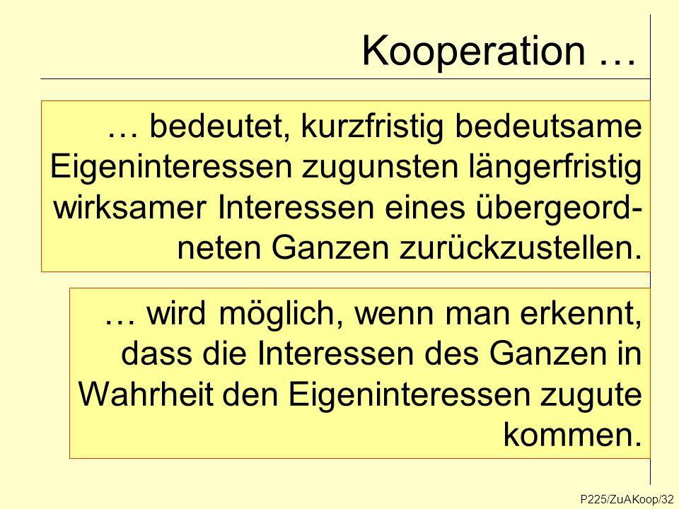 Kooperation … P225/ZuAKoop/32 … bedeutet, kurzfristig bedeutsame Eigeninteressen zugunsten längerfristig wirksamer Interessen eines übergeord- neten G