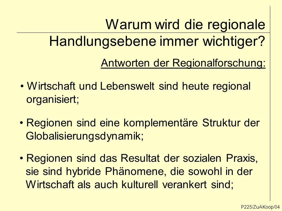 Warum wird die regionale Handlungsebene immer wichtiger? P225/ZuAKoop/04 Wirtschaft und Lebenswelt sind heute regional organisiert; Regionen sind eine