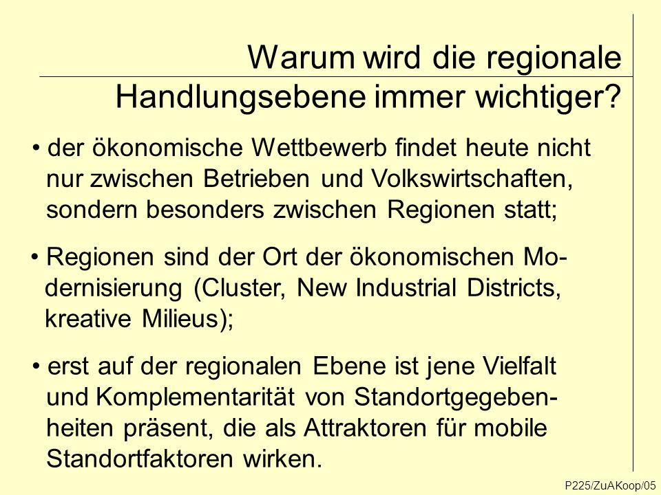 P225/ZuAKoop/05 Warum wird die regionale Handlungsebene immer wichtiger? der ökonomische Wettbewerb findet heute nicht nur zwischen Betrieben und Volk
