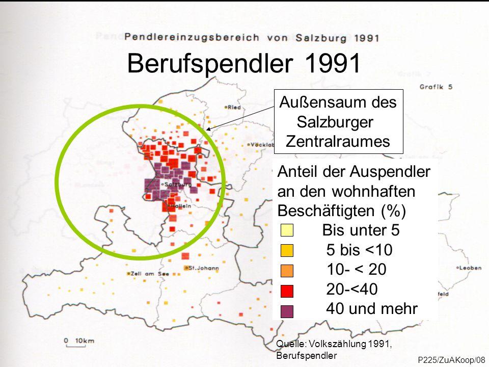 P218/ProgReg/14 Außensaum des Salzburger Zentralraumes Quelle: Volkszählung 1991, Berufspendler Anteil der Auspendler an den wohnhaften Beschäftigten