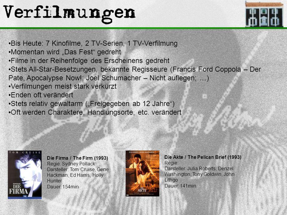 """Verfilmungen Bis Heute: 7 Kinofilme, 2 TV-Serien, 1 TV-Verfilmung Momentan wird """"Das Fest"""" gedreht Filme in der Reihenfolge des Erscheinens gedreht St"""