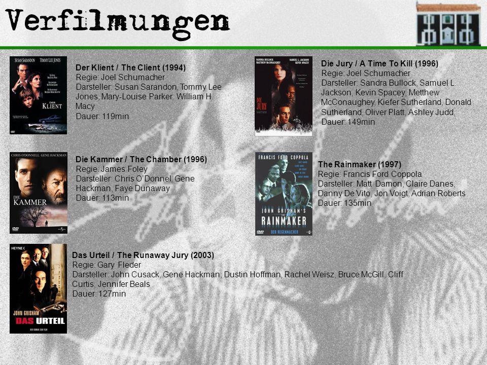 Verfilmungen Der Klient / The Client (1994) Regie: Joel Schumacher Darsteller: Susan Sarandon, Tommy Lee Jones, Mary-Louise Parker, William H. Macy Da