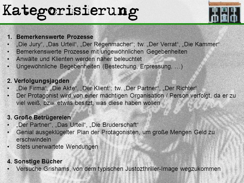 """Kategorisierung 1.Bemerkenswerte Prozesse """"Die Jury"""", """"Das Urteil"""", """"Der Regenmacher""""; tw. """"Der Verrat"""", """"Die Kammer"""" Bemerkenswerte Prozesse mit unge"""