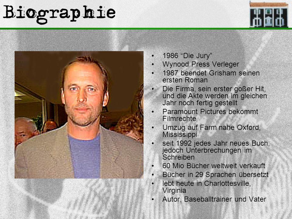 """Biographie 1986 """"Die Jury"""" Wynood Press Verleger 1987 beendet Grisham seinen ersten Roman Die Firma, sein erster goßer Hit, und die Akte werden im gle"""
